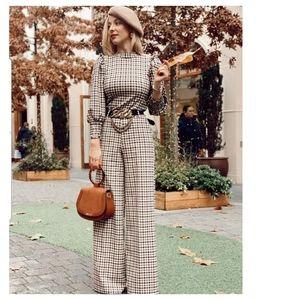Zara plaid ruffled top + pants Co- ord set
